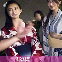花火大会で巨乳浴衣美女2人組を騙しナンパ